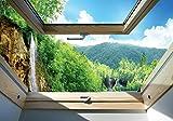 Olimpia Design Fototapete Wasserfall und Wald Fensterblick, 1 Stück, 10391VEXXXL