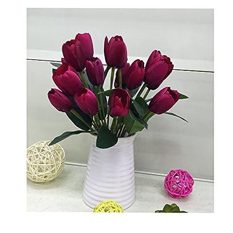Youmei® 2pcs Elegant und Hell Künstliche Blume des Tulpen Bouquet BrautJungfer für Dekoration - Rot