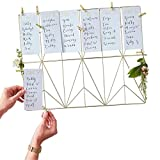 Tisch-Plan/Sitz-Plan/Tisch-Ordnung Organizer aus Metall in Gold inklusive 12 weißen Karten & 12 goldenen Klammern - Hochzeit-s-deko-Ration/Zubehör Hochzeit/Location/Planung Feier Fest Party