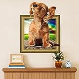3D Simulation Niedlichen Hund Wandaufkleber (Abnehmbar, Wasserdicht, Grün) für Wohnzimmer Schlafzimmer Büro Wohnheim Hintergrund Dekoration,Mehrfarben