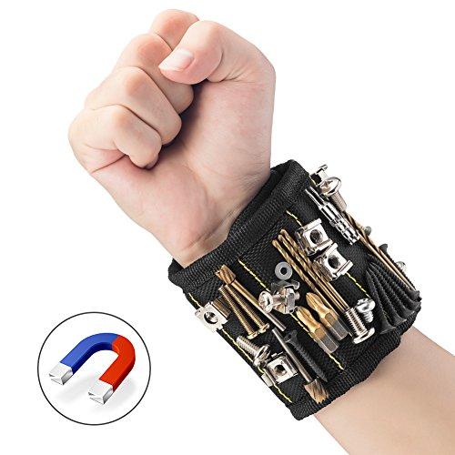 JTENG Magnetische Armbänder, Magnetarmband mit 10 leistungsstarken Magneten Magnet Armbänder verstellbares Klettband zum Halten von Werkzeugen, Schrauben, Nägel, Bohren Bits und Kleinwerkzeuge