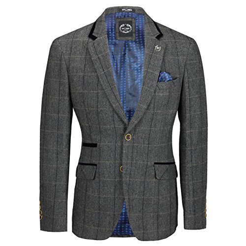 Xposed Mens Grey Herringbone Check 3 Piece Suit Sold Separate Blazer Trouser Waistcoat