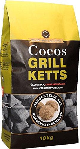 10kg Cocos Grillketts Premium Holzkohle Grillbriketts aus Kokos Kohle - extra lange Brenndauer - ideal für Dutch Oven & Smoker