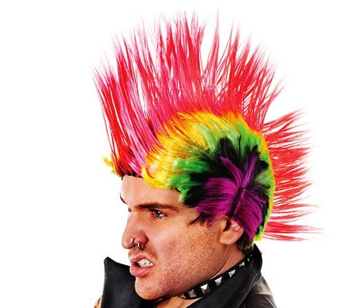Multi Coloured Rainbow Mohican Wig. Ideal for 70s punk, Sex Pistols look