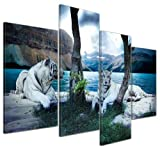 Kunstdruck - Tiger II - Bild auf Leinwand - 120x80 cm 4 teilig - Leinwandbilder - Bilder als Leinwanddruck - Tierwelten - Wildtiere - Grosskatzen - zwei weiße Tiger