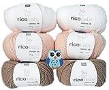 6x50 Gramm Rico Baby Classic DK 50% Polyacryl, 50% Polyamid Babywolle, 1 Eulen Knopf aus Holz (Weiss Aprikose Braun Mix)