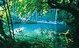 Fototapete Vlies Tapete Vliestapete ForWall Geheimer Türkiser See VEXXL (312cm. x 219cm.) Photo Wallpaper Mural AMF1783VEXXL Natur Blumen Pflanzen Wasserfall Wasser Liane
