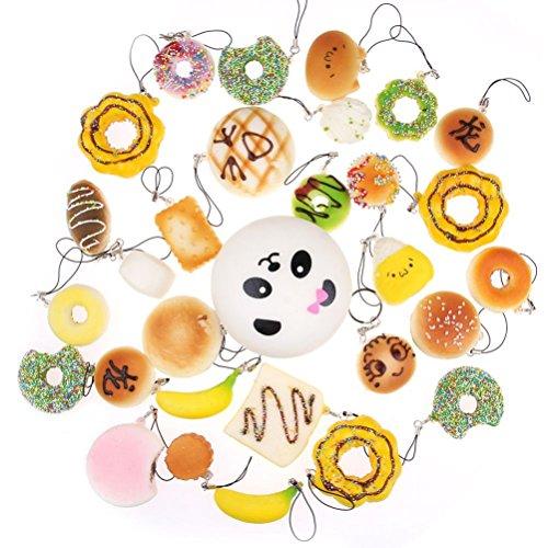 OULII Jumbo media casuale Squishy morbido Panda/pane/torta/panini Telefono Mini cinghie compleanno regalo di Natale per i bambini, Pack o f 12 (stile casuale)