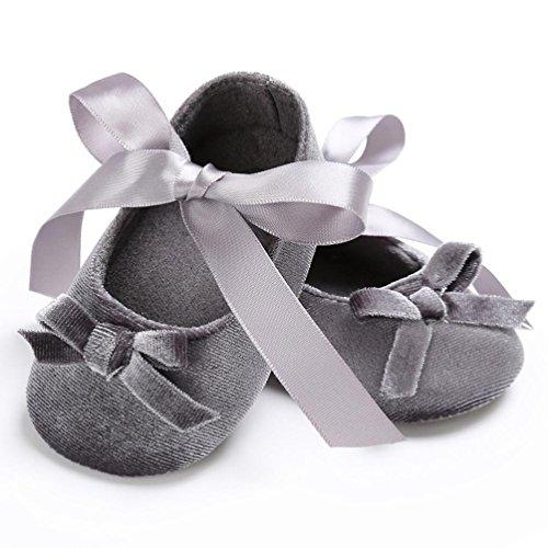 Baby Krippeschuhe, Babyschuhe Longra Kleinkind Baby Mädchen Schuhe Princess Flower Soft Prewalker Lauflernschuhe weiche Sohle Baumwolle rutschfeste Schuhe(0 ~ 18 Monate) Gray