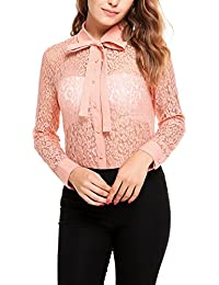 Zeagoo Women's Lace Crochet Tops T-shirt Blouse Floral Long Sleeve Casual Sexy