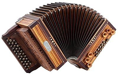 Loib Harmonika 3/II Zebrano G-C-F (33 Knopftasten, 12 Helikonbässe, 3-reihig, 2-chöre, Zebrano Massiv, Nuss Massiv, inkl. Koffer)