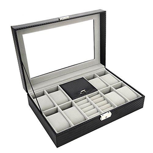 SILYHEART Uhrenkoffer Uhrenbox Schmuckkasten Kasten PU Leder für Uhren und Schmuck für Damen und Herren Schwarz