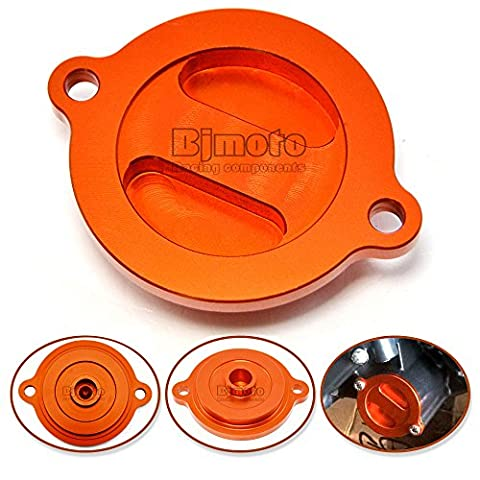 BJ Global 1 Set Fashion Motorcycle Orange Aluminum Motorbike CNC Engine Oil Filter Cover Cap for KTM DUKE 125/200/390