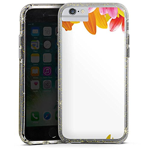 Apple iPhone 6 Bumper Hülle Bumper Case Glitzer Hülle Margeriten Flowers Blumen Bumper Case Glitzer gold