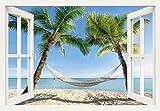 Artland Qualitätsbilder I Bild auf Leinwand Leinwandbilder Wandbilder 100 x 70 cm Landschaften Karibik Foto Blau B8DD Fensterblick Urlaub Palmen Strand Hängematte