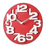 Tinksky NovitÀ Traforate 3D Grandi Cifre Cucina Home Office Decor Tondo Orologio Da Parete A Forma Di Orologio Art (Rosso)