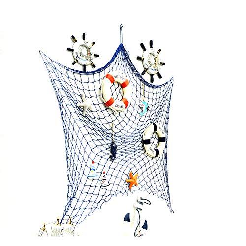 Zierfische Net mediterranen Stil mit Shell-Wand-Dekoration Net für Zuhause-Party-Raum-Dekoration 1.2meters Blau 1PC