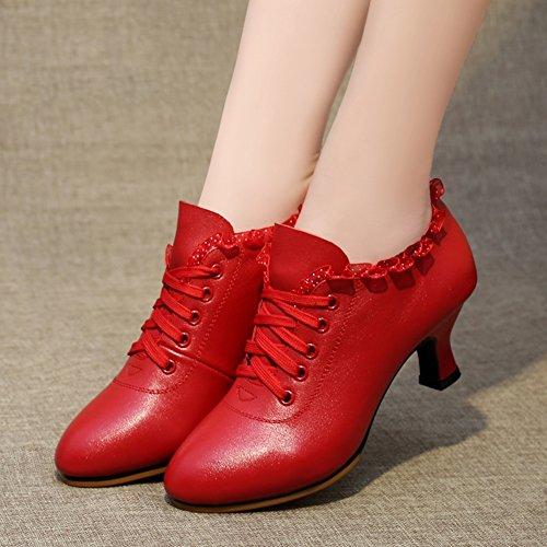 PENGFEI Tanzschuhe Schuhe Lateinischer Tanz Stiefeletten Frühling Und Sommer Mittlerer Absatz Atmungsaktiv Erwachsene Damen 2 Farben (Farbe : Rot, größe : EU39/UK6/L:245mm)