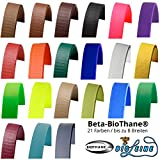 Beta BioThane Meterware | Dicke: 2.5 mm | Riesenauswahl: 21 Farben bis zu 8 Breiten (Schwarz 16 mm breit)