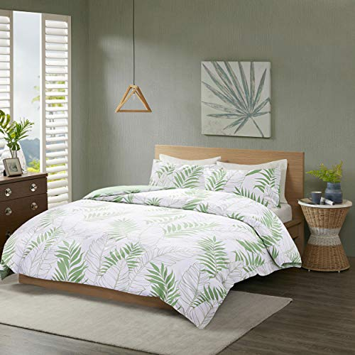 SCM Bettwäsche 200x200cm Grün Weiß 100% Baumwolle Renforcé 3-teilig Bettbezug & Kissenbezüge 50x75cm Tropischen Blättern Ideal für Schlafzimmer Tropical Leaves