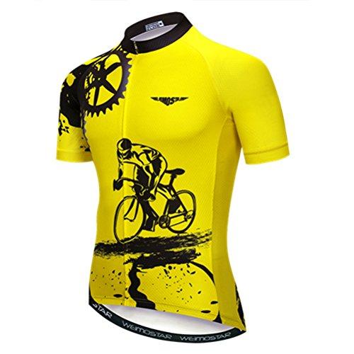 Weimostar Radfahren Jersey Herren MTB Jersey Kurzarm Bike Jersey Reißverschluss Mountain Road Bekleidung Fahrrad-Oberteile Pro Team Sport Laufrad Jersey für Männer männlich gelb Größe XXL