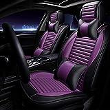 KBZW Housse de siège de voiture en cuir PU Coussin de siège de voiture universel en cuir avec appui-tête et coussin lombaire, avant et arrière, protège la couverture 9 pièces (Color : Purple)
