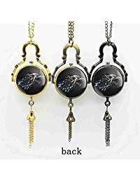 ShopyStore Bronze Game Of Thrones Necklace House Stark Quartz Pocket Watches Men Women Watch Ball