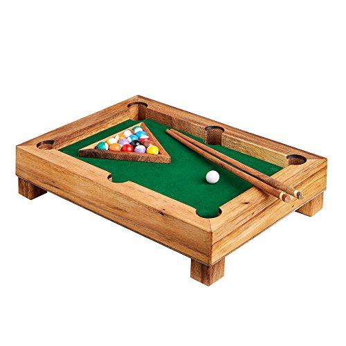 Mini Billardtisch aus Edelholz - Standard – Gadget für Zuhause – Tischbillard – Geschicklichkeitsspiel als Geschenk-Idee – Männergeschenke – Kugeln, Queues und Triangel – Maße: ca. 29 x 20 x 6 cm