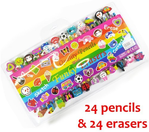 ASAB 24 Quality Funky Pencils With Erasers Shaped Animals, Car, Bus For Kids