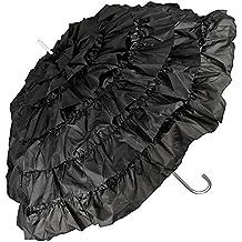 VON LILIENFELD® Paraguas Sombrilla Encaje Boda Mujer MIA Blanco/Crema / Negro