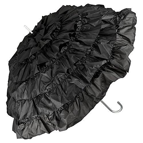 VON LILIENFELD Regenschirm Damen Sonnenschirm Brautschirm Hochzeitsschirm Rüschen Mia schwarz (Nostalgie Kostüm)