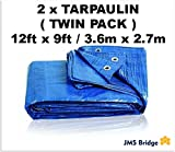 2 X Heavy Duty Tarpaulin 2.7 x 3.6 Metres (9' x 12') Waterproof Sheet Camping Cover