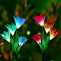 Gaddrt® 2Pcs Solar Powered Waterproof Garden LED Light Lily Flower Stake Lights Artificial Flowers