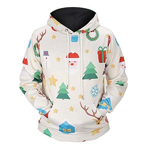Unisex Weihnachtspullover, Elecenty Paar Pullover Bedruckter Sweatshirt Freizeit Hoodies Warm Langarmshirt Crewneck Outwear Top Sweatshirts -