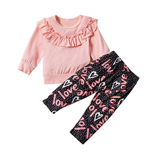 feiXIANG Baby Mädchen 2 Stück Set Kleinkind Rüschen Tops Hosen Neugeborene Langarm Kleidung kostüm - 2 Stück Rüschen Kostüm