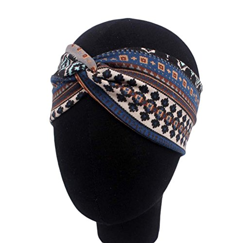 CAOLATOR Sport-Stirnband Elastisches Stirnband Weiche Headbands Streifen Stretch Kreuz Stirnband Retro Turban Mädchen Haar Band Yoga Haarband Marineblau (Retro Haarband)