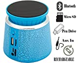 Trapezium Shaped Bluetooth speaker for Powerful BASS , Portable stereo with colourful flashlight, high-definition audio, built-in microphone With Pen drive, TF ( Micro SD ), AUX In , Rechargeable Built in Battery-MM-BT-025-Cracking Blue