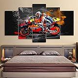 QJXX Leinwanddrucke Artwork Bike Racing Bild Leinwand Wandkunst Dekor 5 Stück Zeitgenössische...