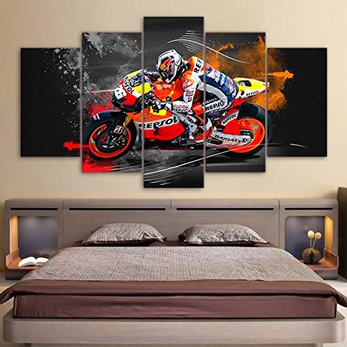 40 Zeitgenössische Leinwand (QJXX Leinwanddrucke Artwork Bike Racing Bild Leinwand Wandkunst Dekor 5 Stück Zeitgenössische Motorrad Modern Home Office Dekoration,B,30 * 40cm+30 * 60cm+30 * 80cm)