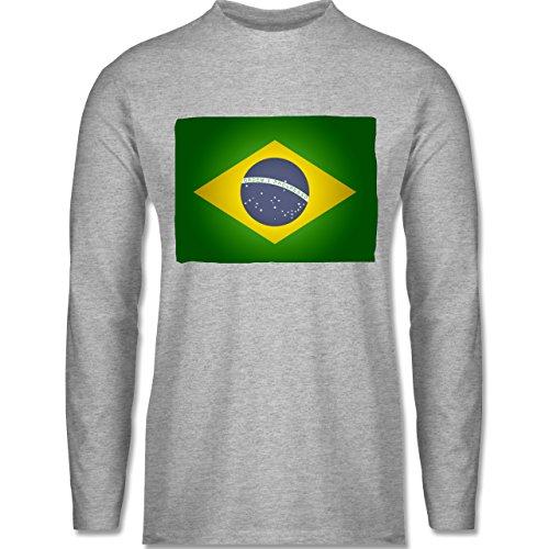 Shirtracer Länder - Flagge Brasilien - Herren Langarmshirt Grau Meliert.  Das langärmelige Shirt ...
