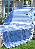 Fouta de Plage xxl MELODI 150x210 cm Bleu Blanc - Grande Serviette de Plage Drap de Hammam 100% Coton de haute Qualité, très Souple - Foutas Design Unique ZusenZomer
