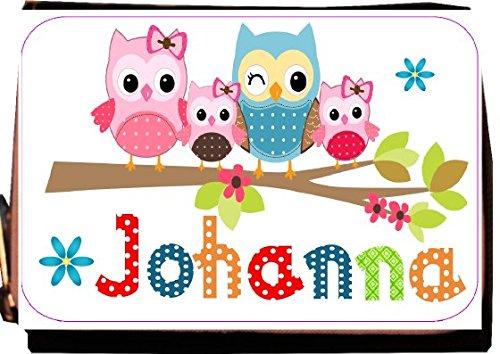 wolga-kreativ Geldbörse mit Namen Eule Eulenfamilie Mädchen Wunschname Portemonnaie für Kinder - Gratis Namensaufdruck Geldbeutel