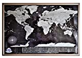 Gerahmte Weltkarte zum Scratchen, perfektes Geschenk für Freund, Schwarz Rahmen