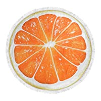XHCHE Fruit Print Tapestry Round Beach Towel With Tassels 150cm Bath Towel Microfiber Fabric Picnic Blanket Mat for Home