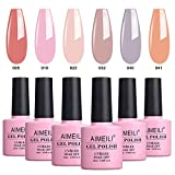 AIMEILI UV LED Gellack mehrfarbig ablösbarer Gel Nagellack Nude Pastell Gel Nail Polish Set Kit - 6 x 10ml - Set Nummer 22