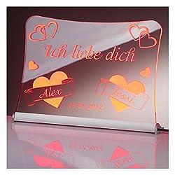 """LED Acrylglas Schild""""Ich liebe dich"""", 30x20 cm, mit persönlicher Laser Gravur (rot)"""