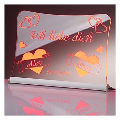 """LED Acrylglas Schild """"Ich liebe dich"""", 30x20 cm, mit persönlicher Laser Gravur (rot)"""
