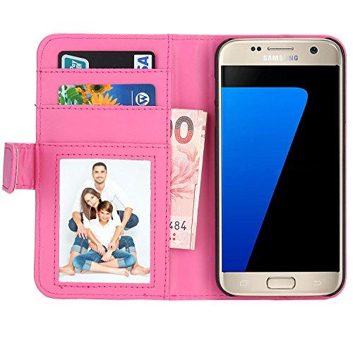 Samsung Galaxy S7 Hülle, EnGive Premium Wallet Ledertasche mit Standfunktion und Karte Halter für Samsung Galaxy S7 Hülle - Rosa