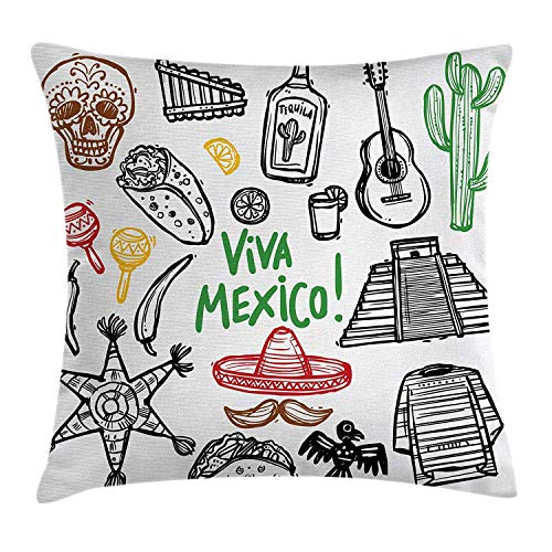 rations Throw Pillow Cushion Cover by, Sketch Latin Object with Burritos Guitar Tequila Bottle Pinata Quetzal Coati, Decorative Square Accent Pillow Case, 18 X 18 Inches, Multi ()