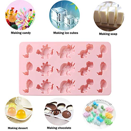 Dinosaurier Eiswürfelschale Silikon Fondantform Kuchen dekorieren Schokolade Kekse Süßigkeiten Gelee Seife Backform Sugarcraft DIY 15-Cavity (Pink) - Dinosaurier-kuchen-form